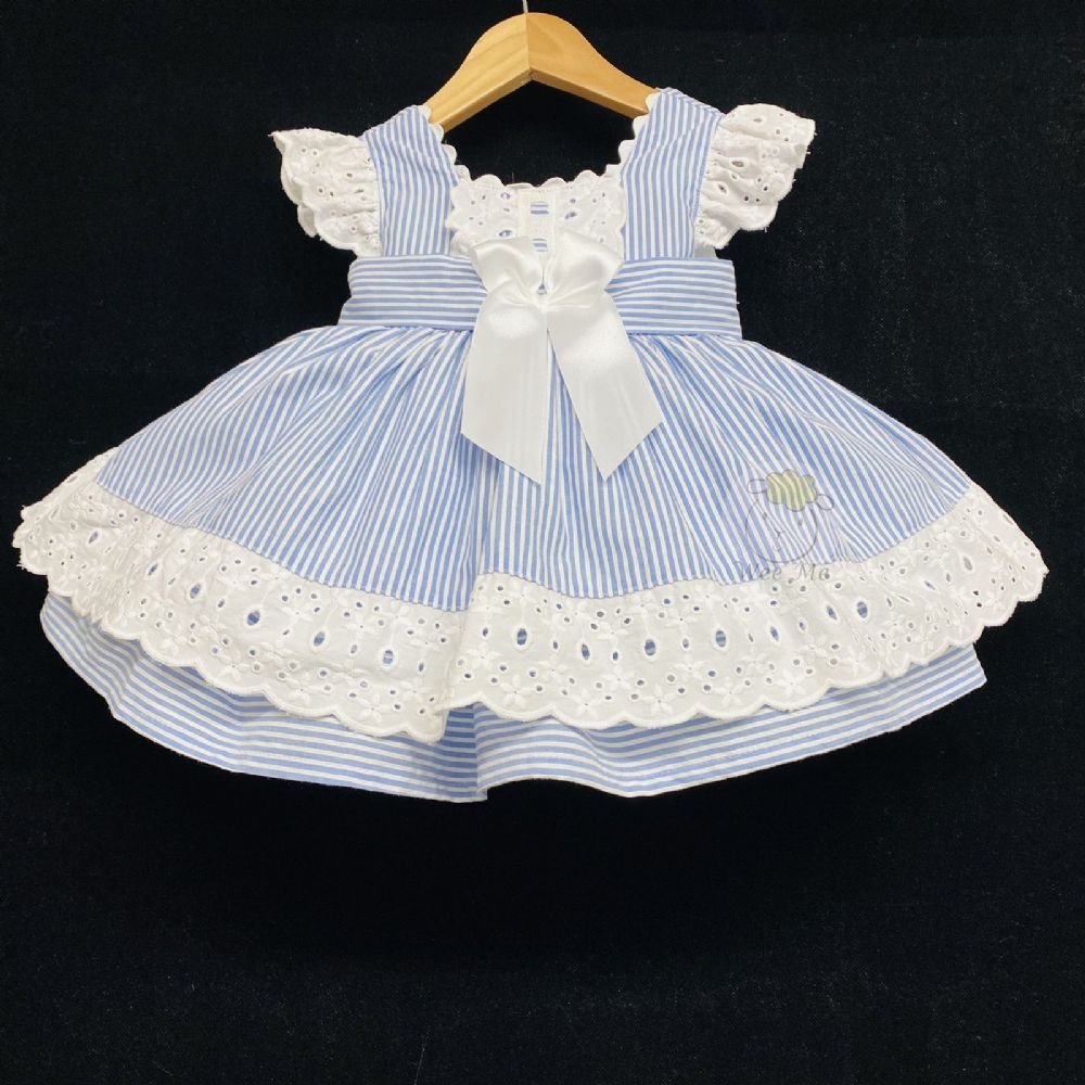 New Baby Girl Blue Candy Stripe Puff Ball Dress